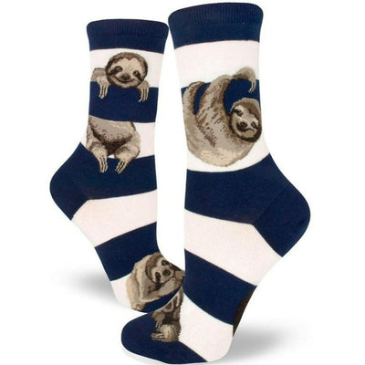 Sloth Stripe Socks Women's Crew Sock Navy