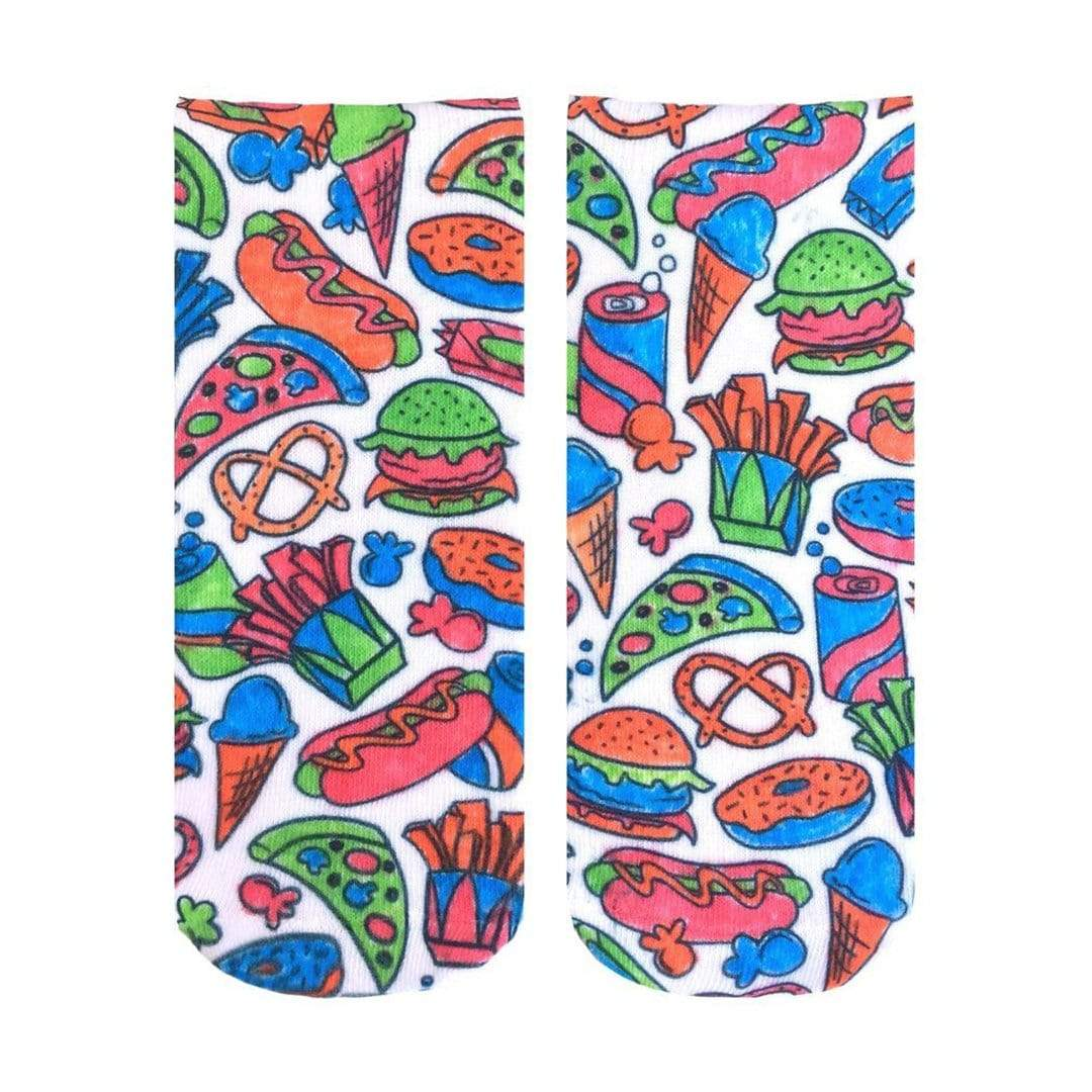Snack Attack Color In Socks - Ankle Sock White