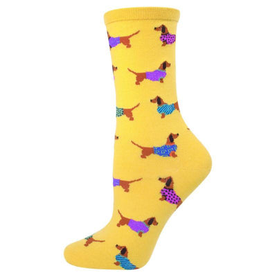 Haute Dog Socks Women's Crew Sock Yellow
