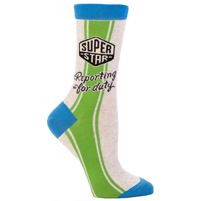 Superstar Reporting for Duty Socks - Crew Socks for Women