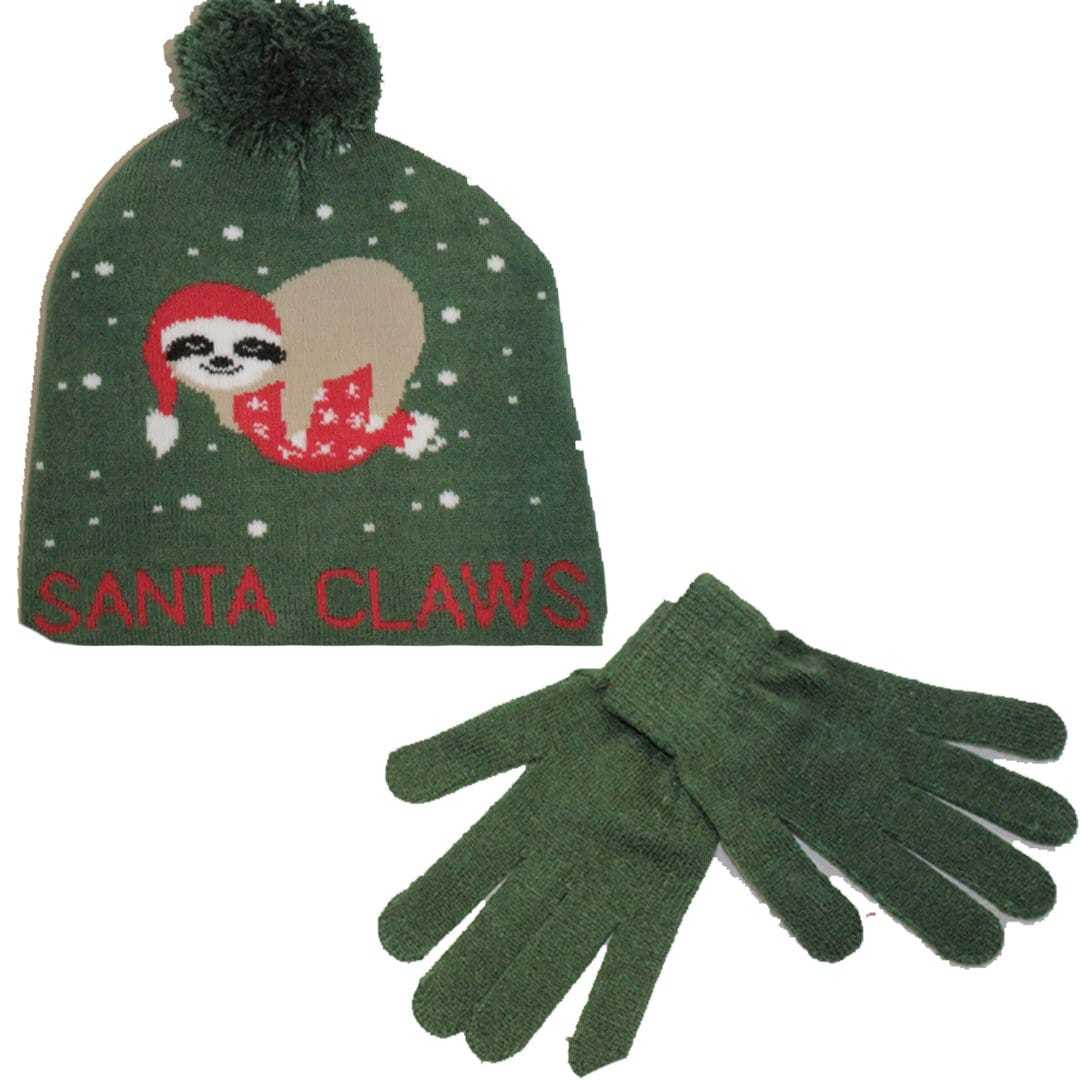 Santa Claws Hat & Gloves Set Green