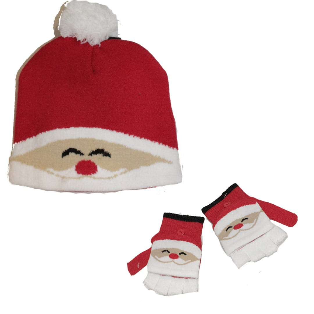 Santa Winter Kid's Hat and Gloves Set Red