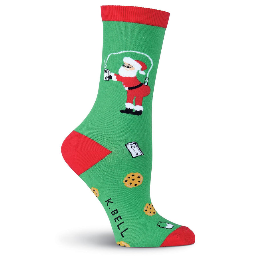 Santa's Milk & Cookies Socks - Crew Socks for Women