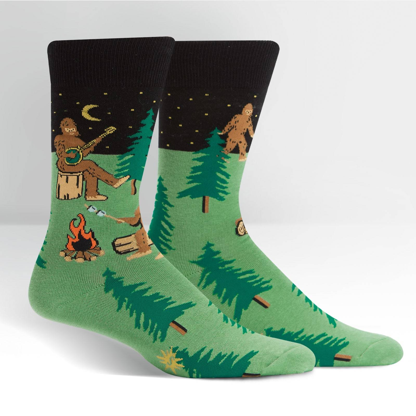 Sasquatch Camp Out Socks Men's Crew Sock