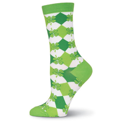 Shamrock Argyle Socks - Crew Socks for Women
