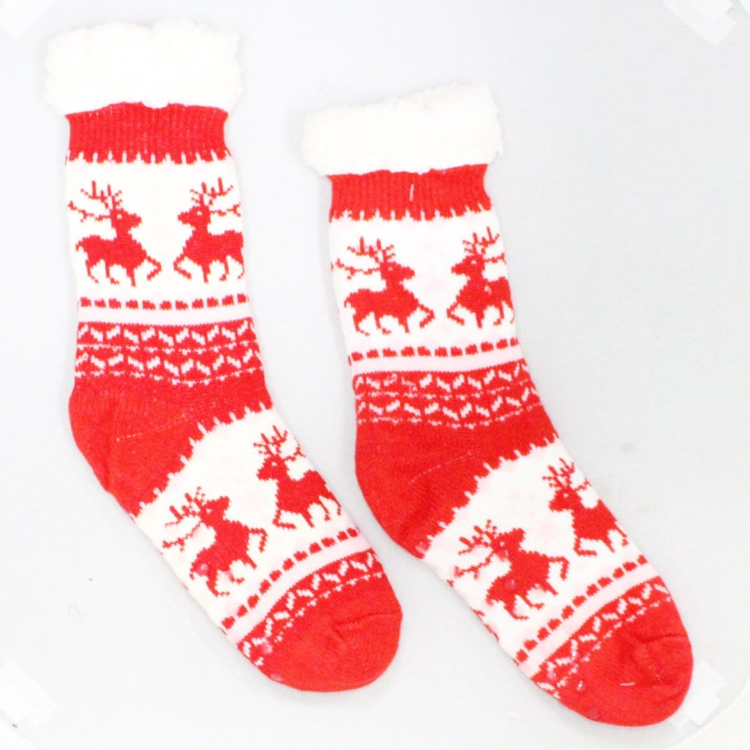 Sherpa  Red Pink Reindeer Holiday Slipper Socks Non-Skid Slippers
