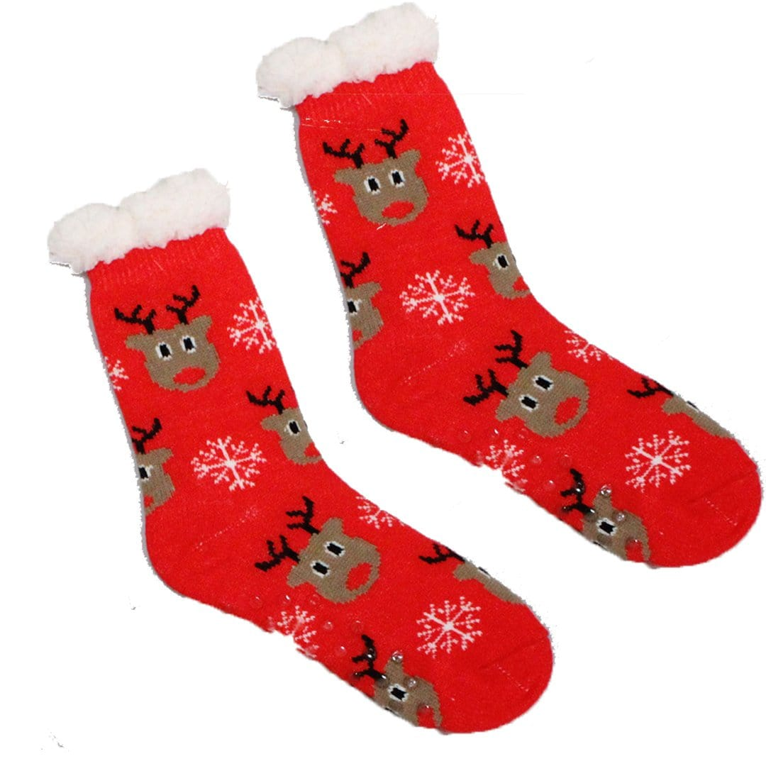 Sherpa Rudolph Reindeer Slipper Socks Non-Skid Slippers