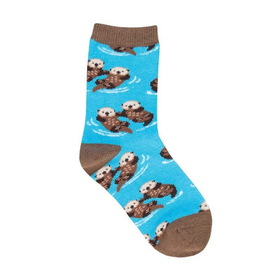 Significant Otter Socks Children's Crew Sock blue with Brown