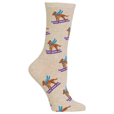 Ski Dog Socks -- Tan