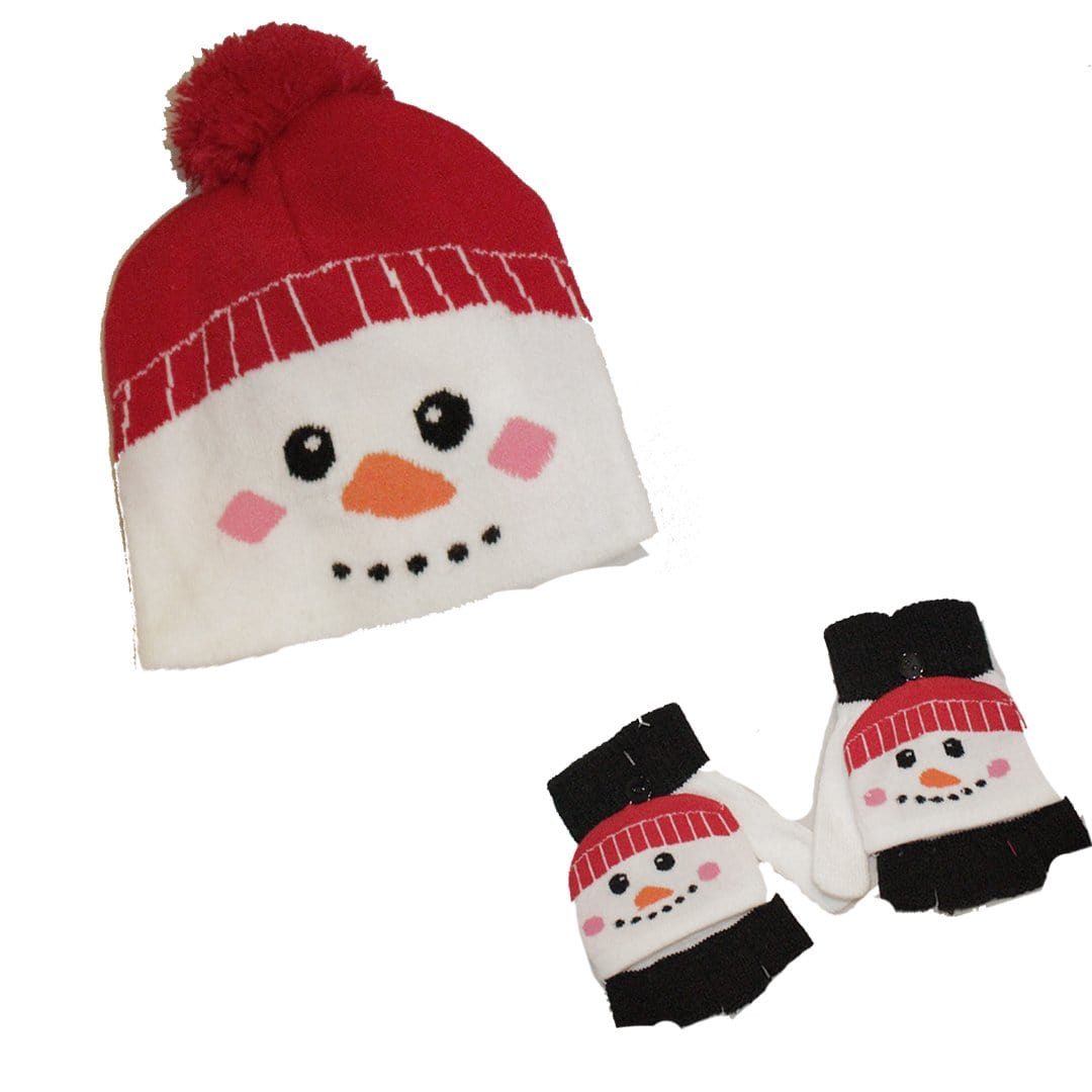 Snowman Kid's Hat & Gloves Set