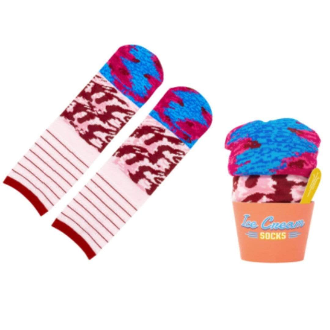 Ice Cream Socks Unisex Crew Sock Pink - Black Cherry