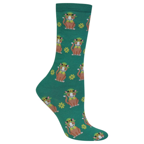 St. Patrick's Day Cat Socks-Green