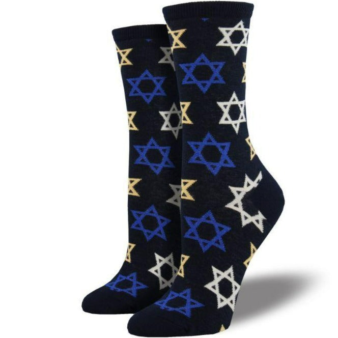 Star of David Socks Women's Crew Sock black