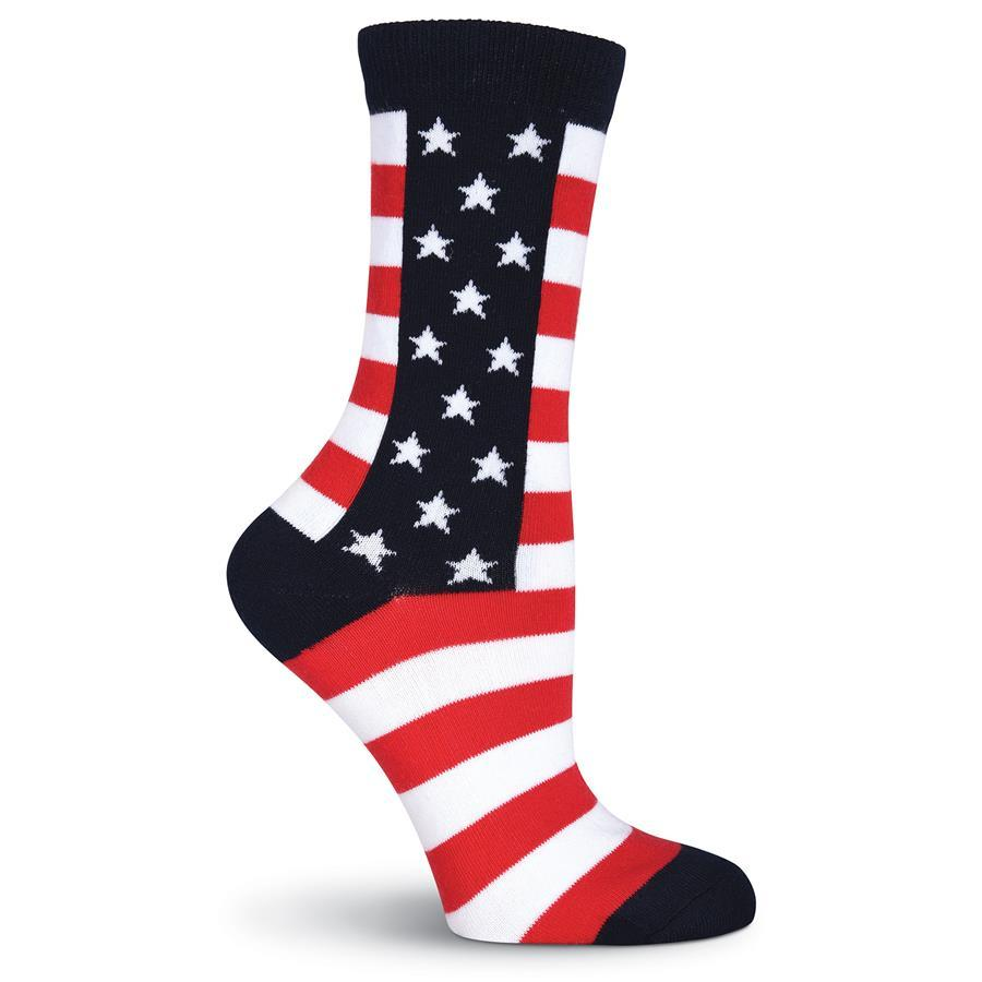 Stars & Stripes Socks - Crew Socks for Women - front