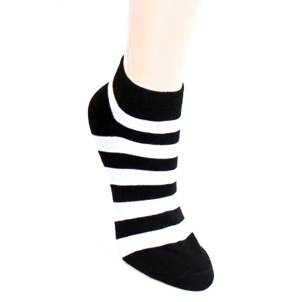 Stripe Print - Women's Ankle Sock White & Black