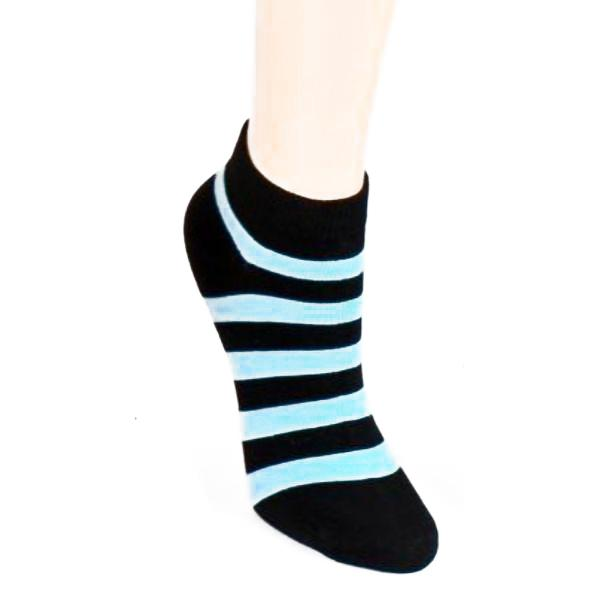 Stripe Print - Women's Ankle Sock Blue & Black