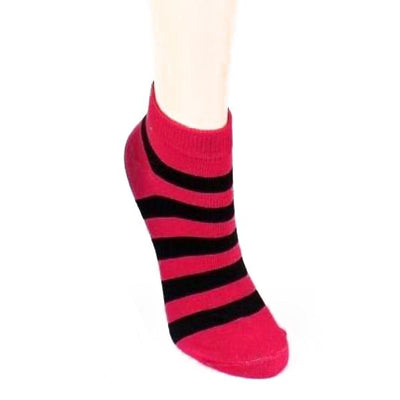 Stripe Print - Women's Ankle Sock Pink & Black