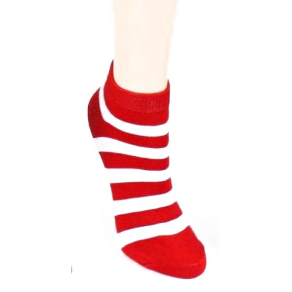 Stripe Print - Women's Ankle Sock Red & White