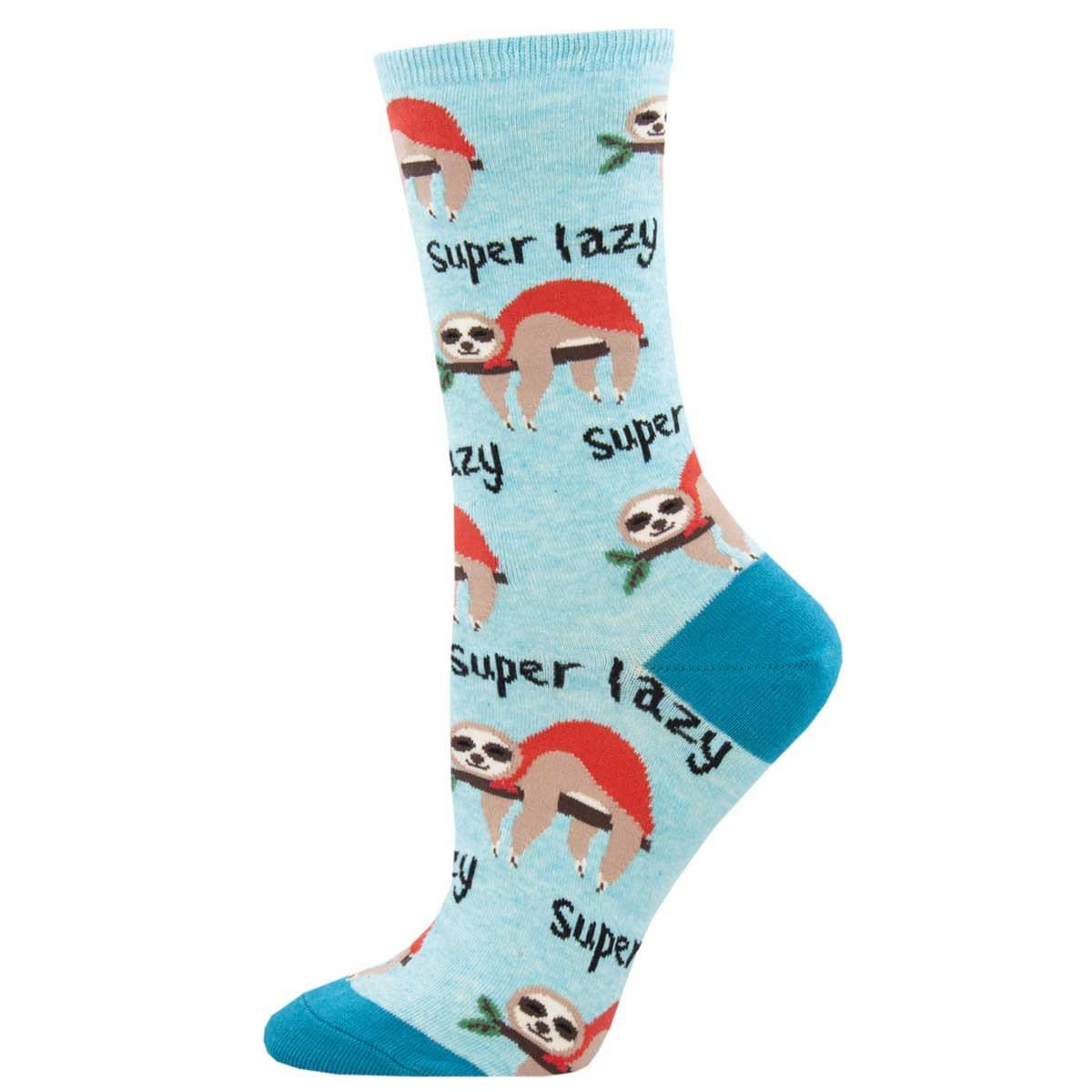 Super Lazy Sloth Women's Crew Sock Blue