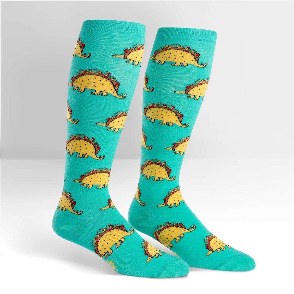 Taco-Saurus Socks Women's Knee High Sock Regular / Teal