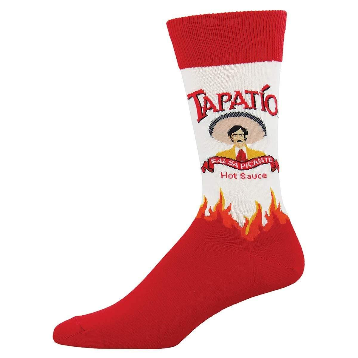 Tapatio Men's Crew Sock Red and White