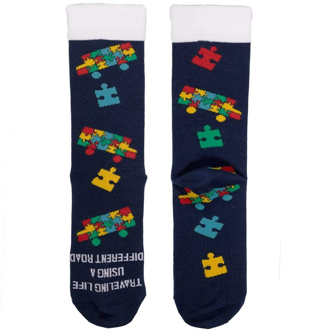 Bus Puzzle Piece Autism Awareness Socks Crew Sock Children's / Navy