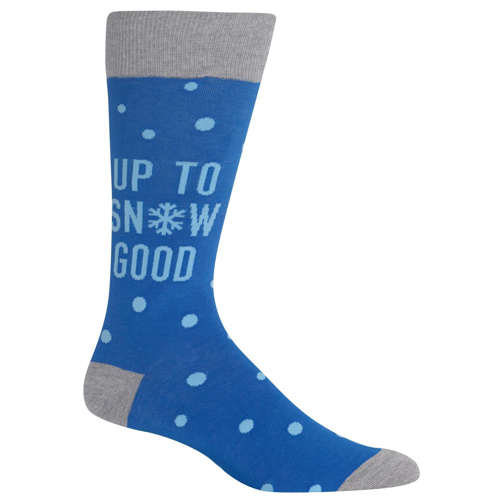 Up to Snow Good Socks Men's Crew Sock Blue
