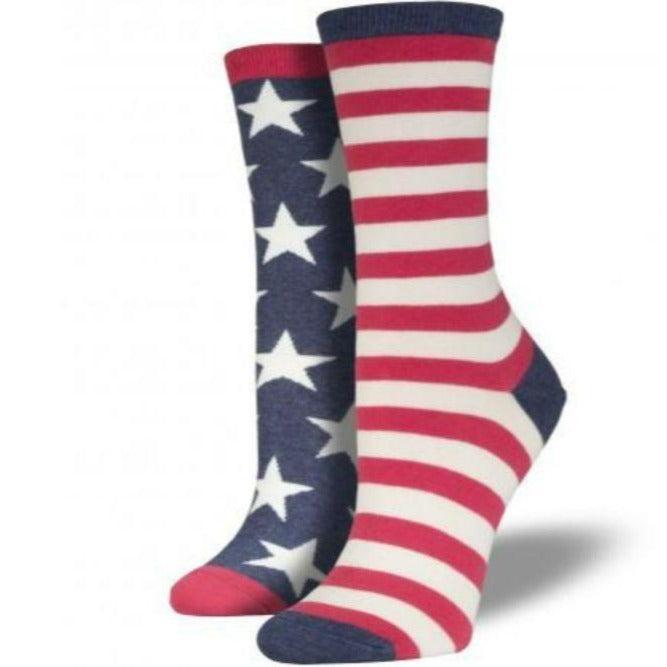 USA Mismatched Flag Socks Women's Crew Sock Vintage Blue