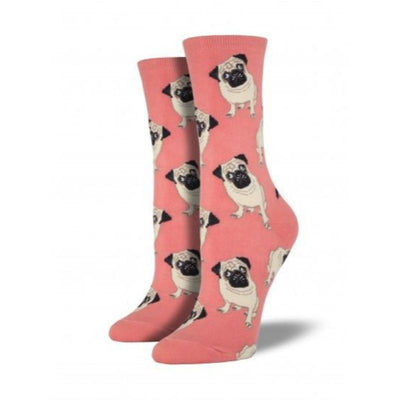 Pugs Socks Women's Crew Sock Peach