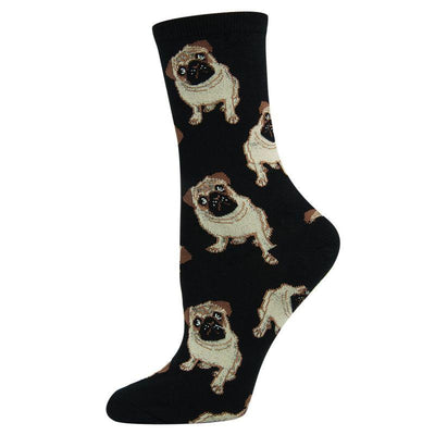 Pugs Socks Women's Crew Sock Black