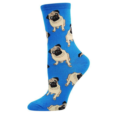 Pugs Socks Women's Crew Sock Blue