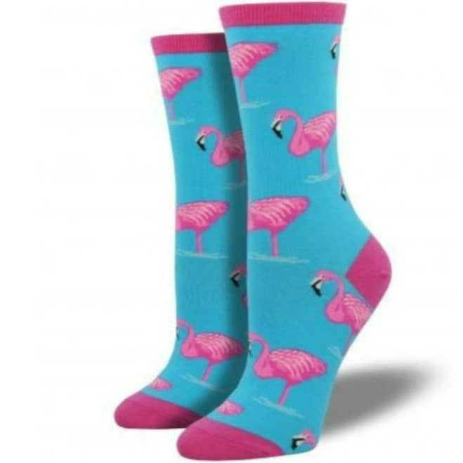 Flamingo Socks Women's Crew Sock Aqua