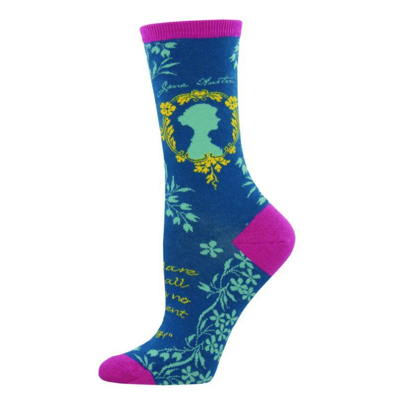 Jane Austen Socks Women's Crew Sock Blue