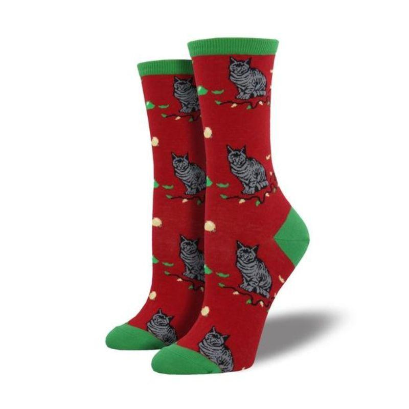 Christmas Cat-Astrophe Socks Women's Crew Sock