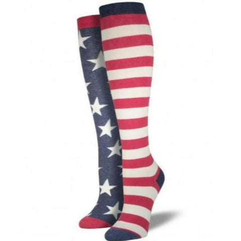 c1f00764778 USA Mismatched Flag Socks Women s Knee High Sock