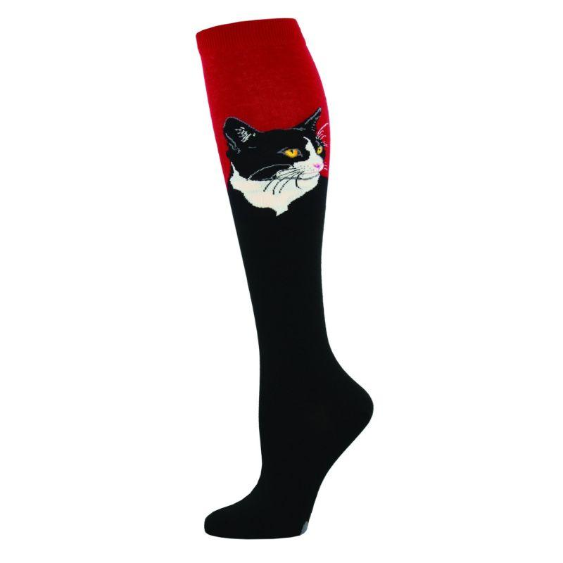 Cat Portrait Socks Women's Knee High Sock Red