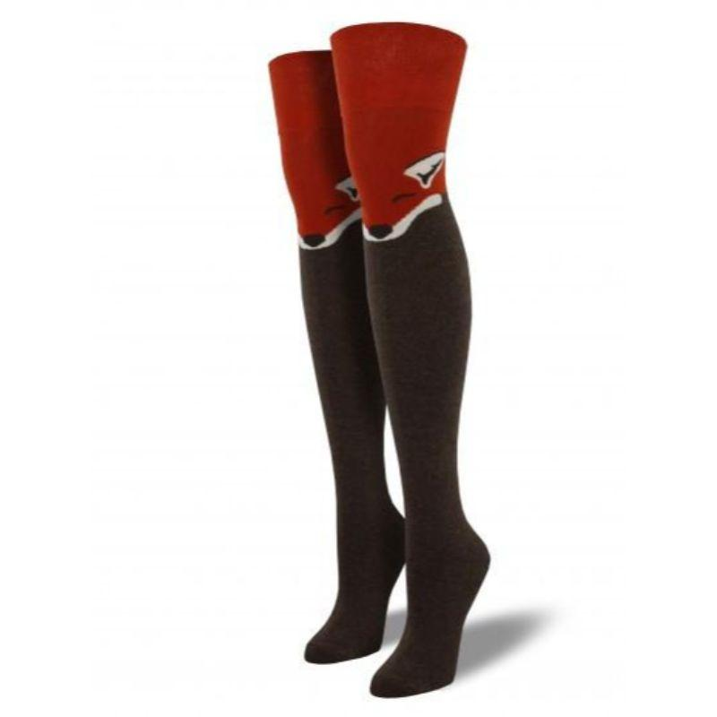 Fox Socks Women's Over the Knee Thigh High Socks brown