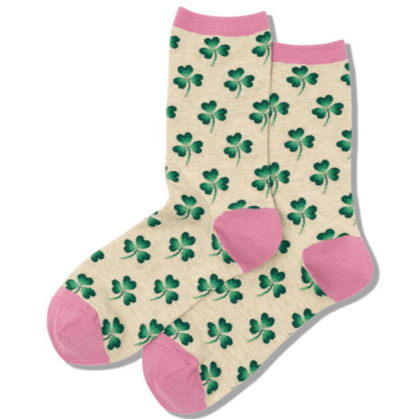 Clover Women's Crew Sock Tan and Pink