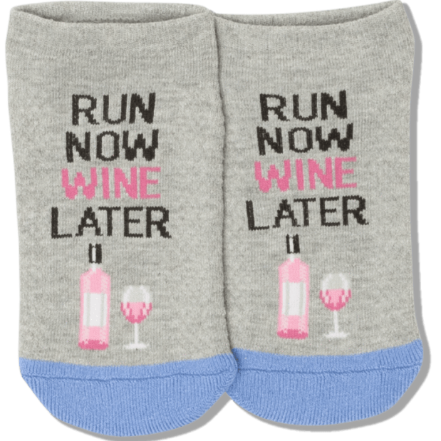 Run Now Wine Later Socks Women's Ankle Sock Grey