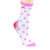 Breast Cancer Awareness Socks Women's Crew Sock White with Pink Ribbons / White