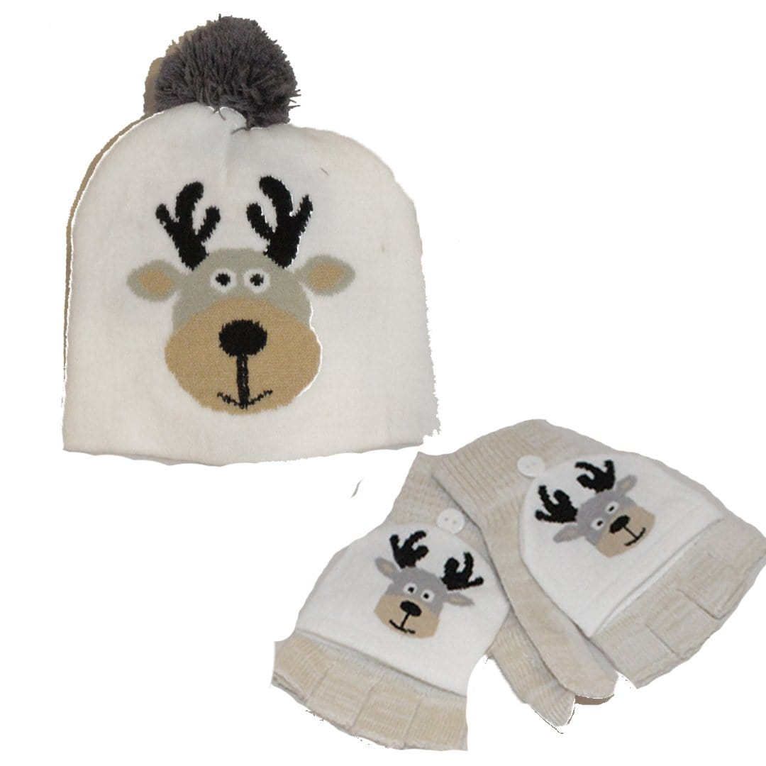 Winter Reindeer Kid's Hat & Gloves Set White