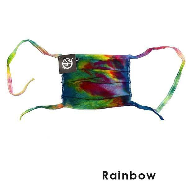 Rainbow Tie Dye No Rulz Art Pleated Face Mask with Ties
