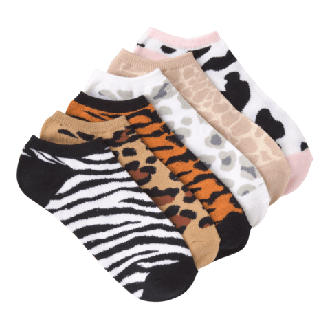 Women's Animal Prints No Show 6 Pair Pack