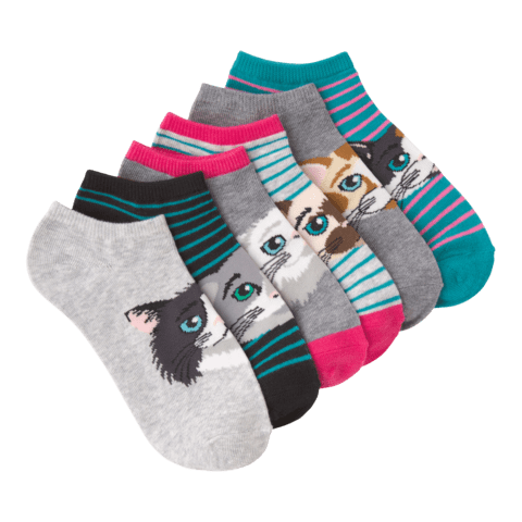 Women's Cat Faces No Show 6 Pair Pack Solids and Stripes