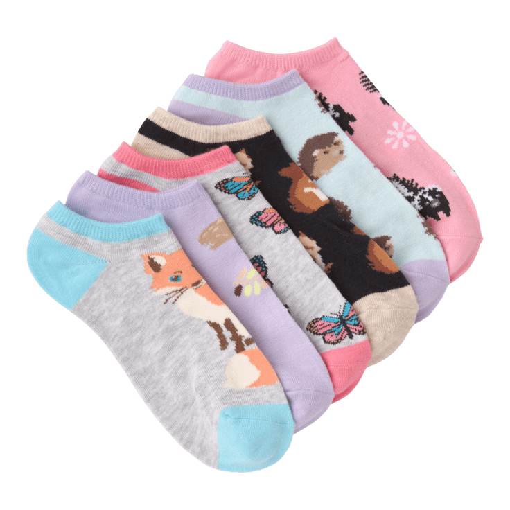 Forest Creatures Women's 6 Pair Pack Socks Pastels