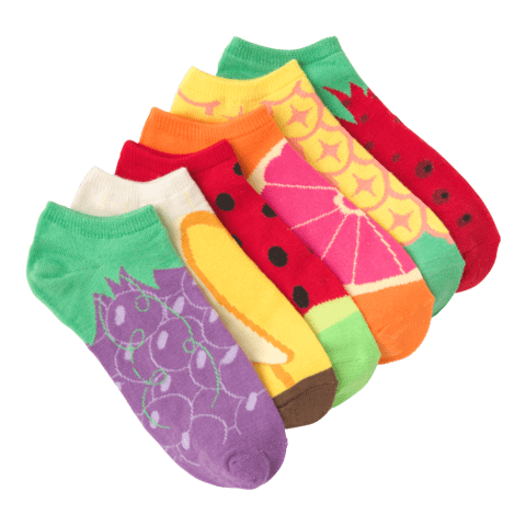 Women's Fruit No Show 6 Pair Pack Multi Colored Fruit