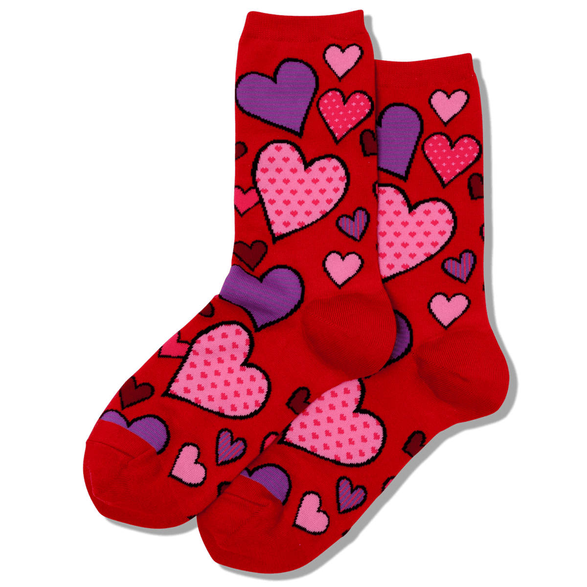 Women's Hearts Crew Sock Red