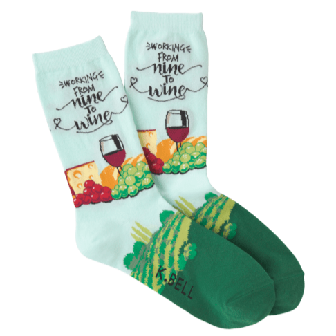Women's Nine To Wine Crew Socks Blue