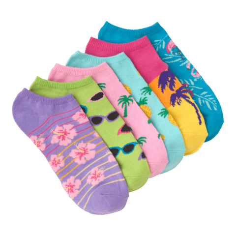 Women's Palm Beach No Show 6 Pair Pack Brights