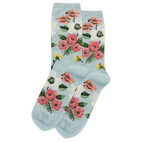 Spring Floral Women's Crew Sock Mint